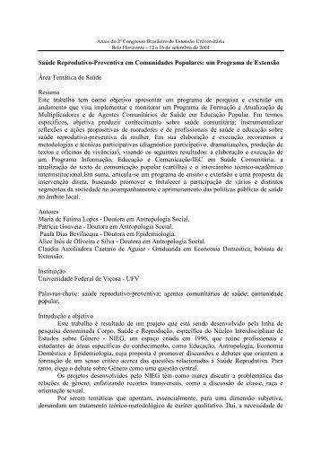 Saúde Reprodutivo-Preventiva em Comunidades Populares - UFMG