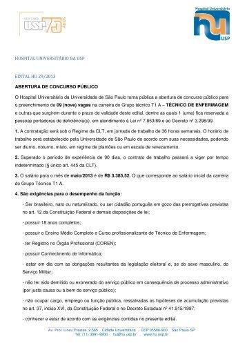 HOSPITAL UNIVERSITÁRIO DA USP EDITAL HU 29/2013 ...