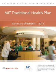 2013 MIT Traditional Health Plan - MIT Medical