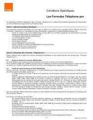 Conditions Spécifiques Les Formules Téléphone pro - Orange mobile
