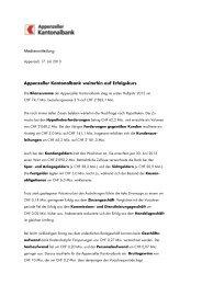 Medienmitteilung Appenzeller Kantonalbank weiterhin auf Erfolgskurs