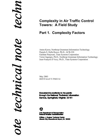 Complexity in Air Traffic Control Towers: A Field Study Part 1 ... - FAA