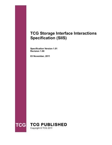 Storage Work Group Storage Interface Interactions Specification