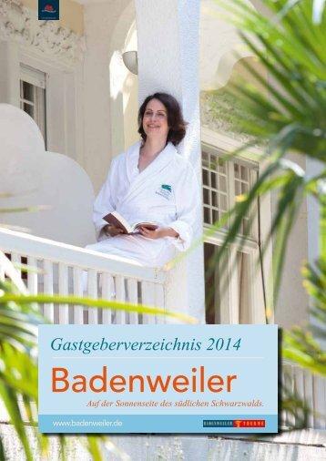 Badenweiler Gastgeberverzeichnis 2014