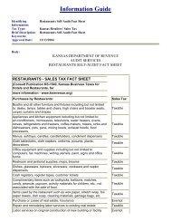 Information Guide Restaurants Self-Audit Fact Sheet - Kansas ...