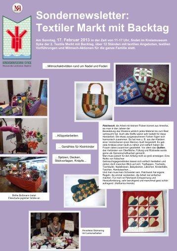 Sondernewsletter: Textiler Markt mit Backtag - Kreismuseum Syke