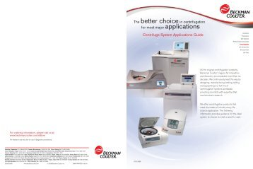 B2008-8689_Centrifuge Applications Brochure ... - Beckman Coulter