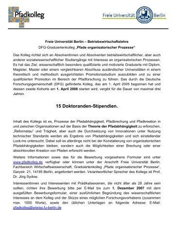 15 Doktoranden-Stipendien. - Fachbereich Wirtschaftswissenschaft ...