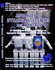 ADVANCES in DYNAMICAL SYSTEMS and CONTROL ... - Wseas.us