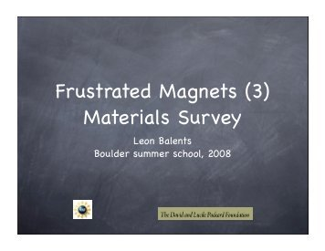 T - Boulder School for Condensed Matter and Materials Physics