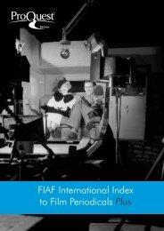 FIAF International Index to Film Periodicals Plus - ProQuest.com