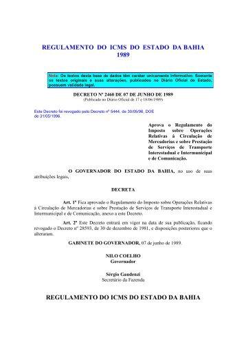 regulamento do icms do estado da bahia 1989 - Secretaria da ...