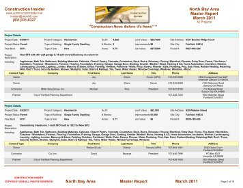 Construction Insider Master Report North Bay Area March 2011 ...