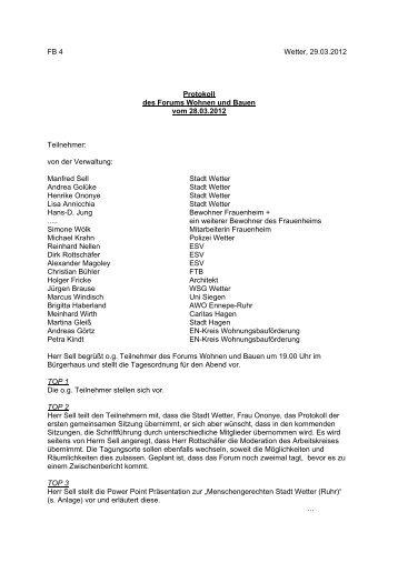 Protokoll der 1. Sitzung des Fachforums - Stadt Wetter