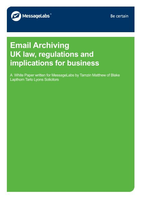 Email Archiving - UK law, regulations and implications for business ...
