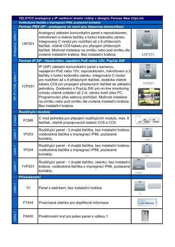 TELSYCO IP DP a PBX DP přehled dostupných položek