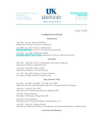 curriculum vitae - Physics and Astronomy - University of Kentucky