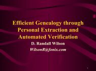 Efficient Genealogy through Personal Extraction and Automated ...