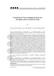 Evaluation de l'état écologique de deux lacs sub-alpins suisses ...