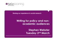 Writing for policy and non - School of Social Sciences