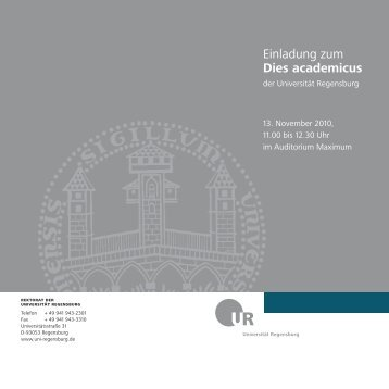 Einladung zum Dies academicus der Universität Regensburg 2010