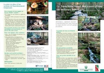 le franchissement des cours d'eau par les engins forestiers ...