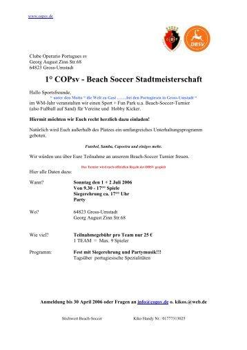 1° Copsv - Beach Soccer Stadtmeisterschaft