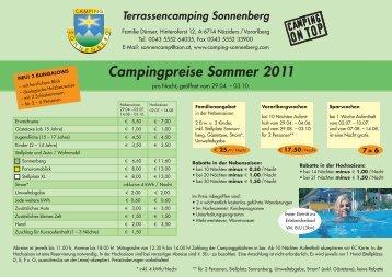 Campingpreise Sommer 2011 - Camping Sonnenberg
