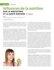 In¿uences de la nutrition - Ordre des hygiénistes dentaires du Québec