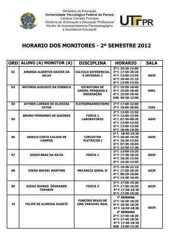 HORARIO DOS MONITORES - 2º SEMESTRE 2012 - UTFPR