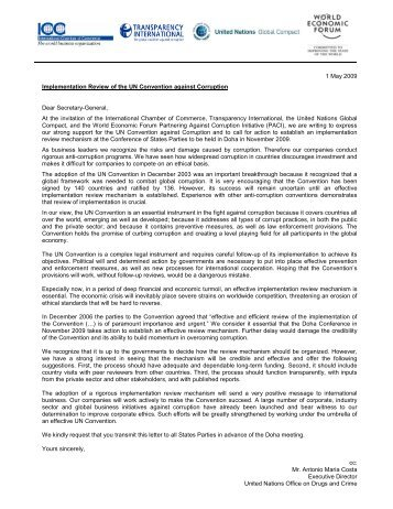 UNCAC Letter with signatories 06052009 - Transparency International