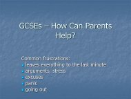 GCSEs – How Can Parents Help? - Ribston Hall High School