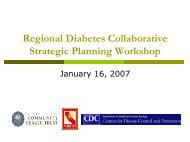 Regional Diabetes Collaborative Strategic Planning Workshop