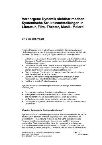 Systemische Strukturaufstellungen in Literatur, Film, Theater, Musik ...