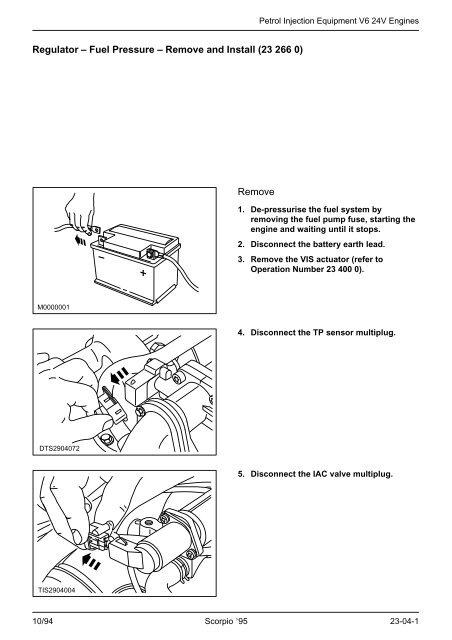 ford fuel pressure diagram regulator                fuel pressure                remove and install    regulator                fuel pressure