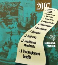 Legislative Program - the Virginia Municipal League
