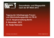 Vortrag Dr. Nadja Rakowitz - Gesundheit & Soziales - Ver.di