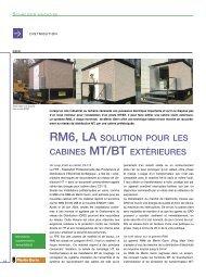 RM6, LA SOLUTION POUR LES CABINES MT/BT EXTÉRIEURES