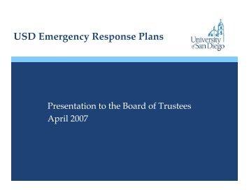 USD Emergency Response Plans - University of San Diego