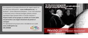 Invito per i ragazzi missionari - Centro Missionario Diocesano di ...