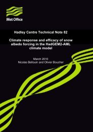Climate response and efficacy of snow albedo forcing in ... - Met Office