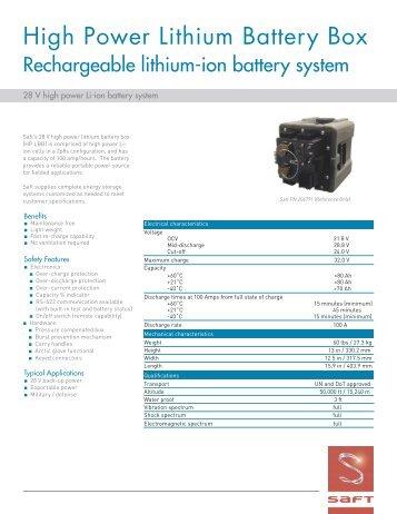 High Power Lithium Battery Box - Saft