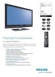 42PFL7682D/12 Philips Breitbild-Flat TV mit PIXEL PLUS HD - Prad