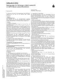 Gültig ab 9.7.2012 Bedingungen für Zahlungen mittels Lastschrift im ...