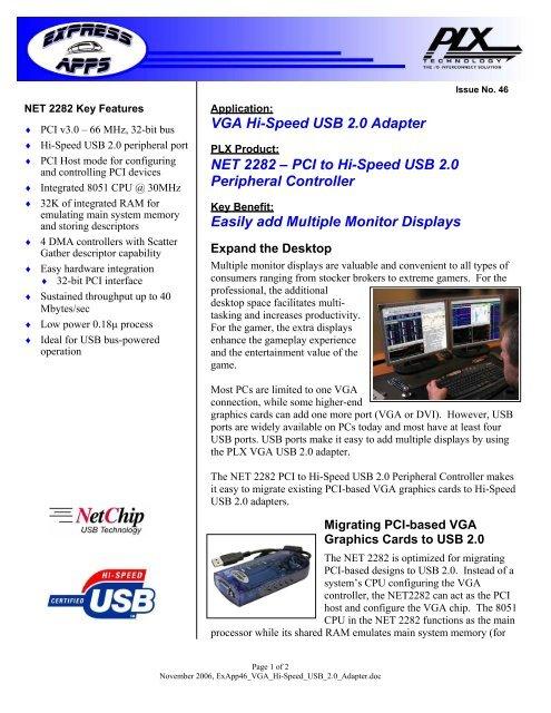 ExApps46 VGA Hi-Speed USB 2 0 Adapter - PLX Technology