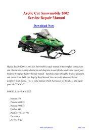 2002 Arctic Cat Snowmobile Workshop Manual - Repair manual