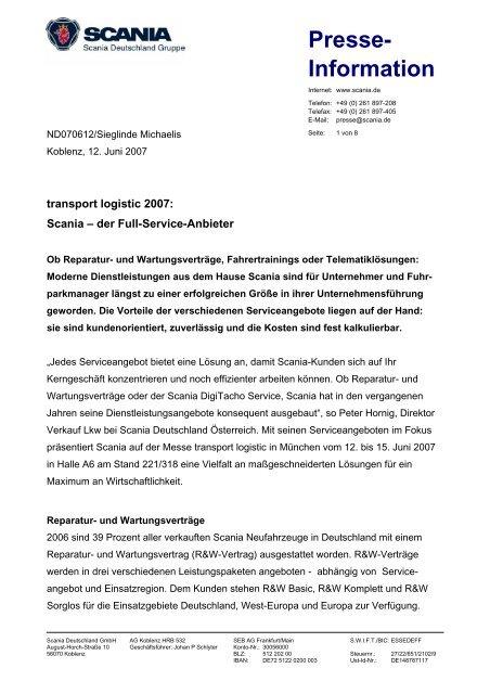 transport logistic 2007: Scania – der Full-Service-Anbieter (43 KB)