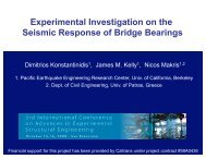 Experimental Investigation on the Seismic Response of ... - PEER