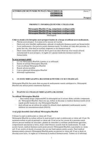 AUTORIZAŢIE DE PUNERE PE PIAŢĂ NR.633/2008/01-06 Anexa 1 ...