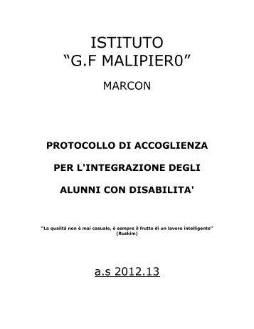 Protocollo di accoglienza - Istituto Comprensivo Malipiero